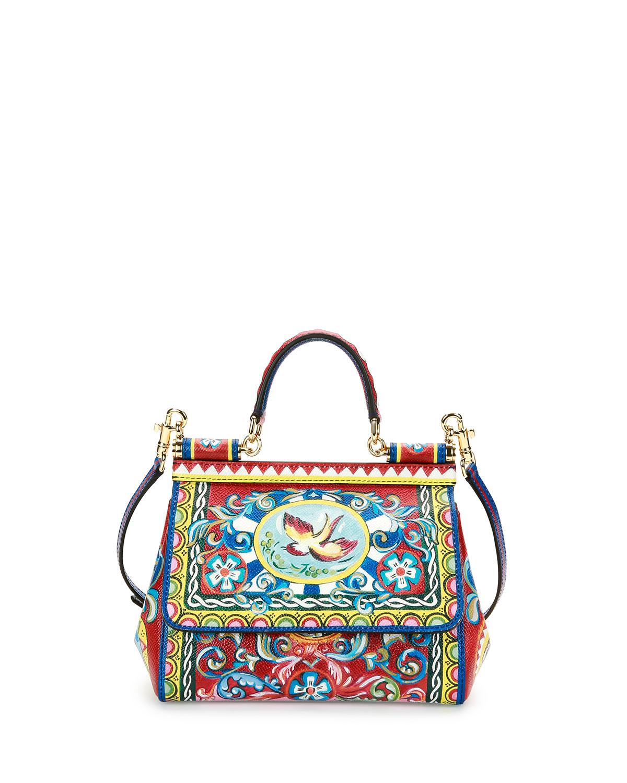 10debf3ce1e0 Dolce   Gabbana Miss Sicily Small Painted Bird Satchel Bag ...