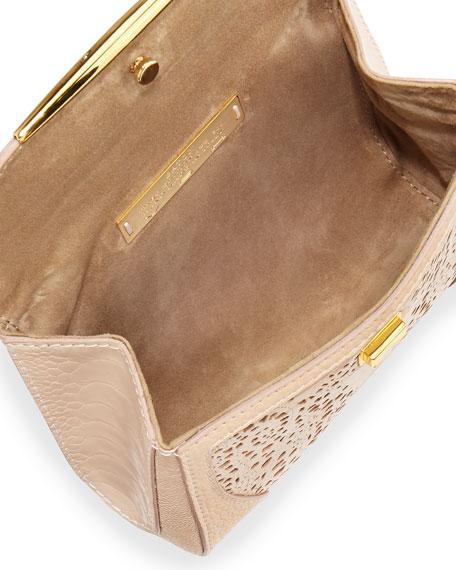 Baton Sling Ostrich Lace Crossbody Bag, Nude