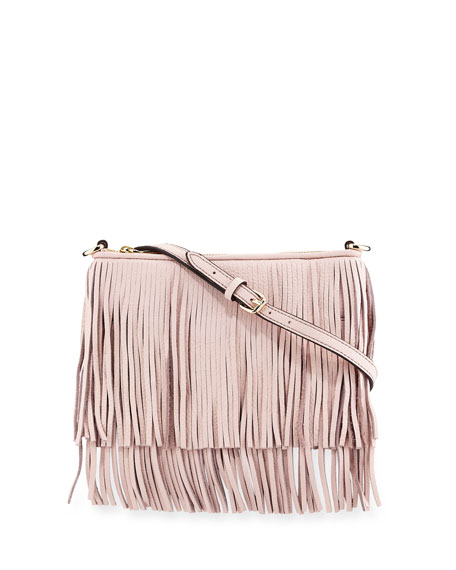Rebecca Minkoff Finn Leather Fringe Crossbody Bag Baby Pink Neiman Marcus