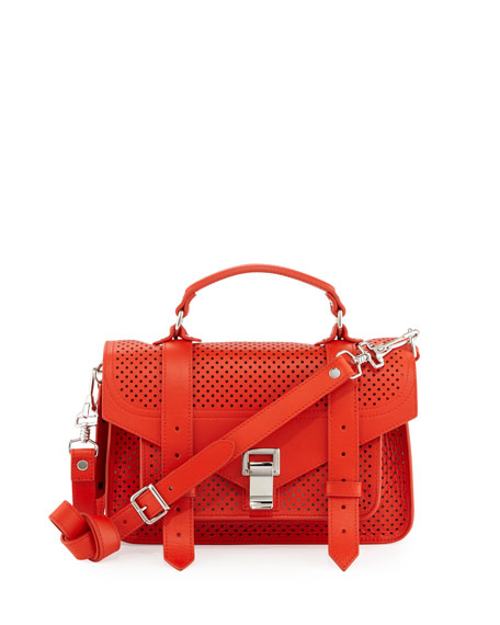 Proenza Schouler PS1 Tiny Perforated Leather Satchel Bag, Fire Red