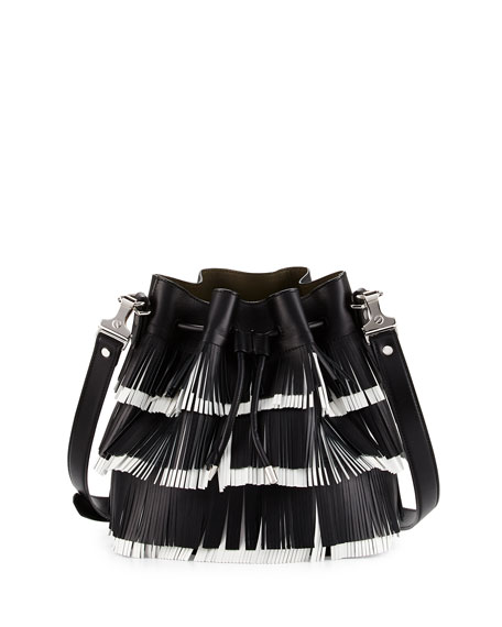 Proenza Schouler Medium Fringed Leather Bucket Bag, Black/White