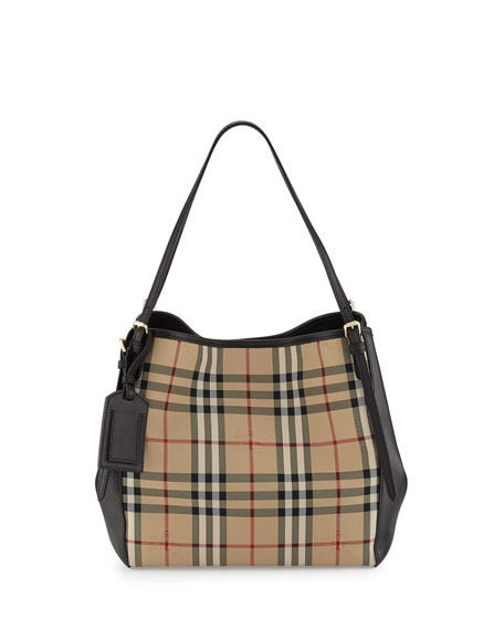 90854cecc4ad Burberry Small Canter in Horseferry Check and Leather Hobo Bag ...