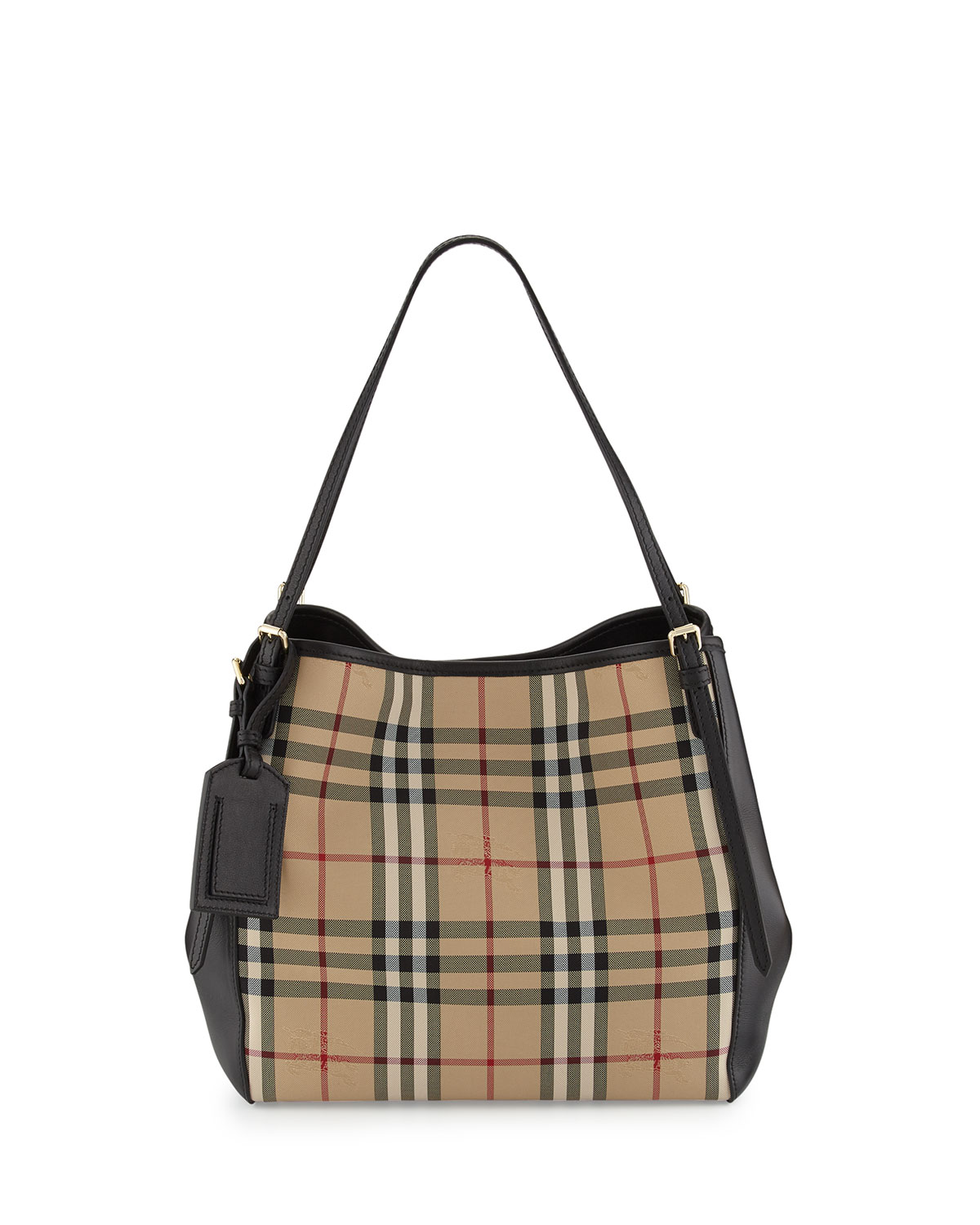 406465abf7 Burberry Small Canter in Horseferry Check and Leather Hobo Bag, Black