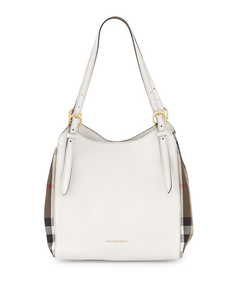 burberrycanterbury small leathercheck tote bag natural white check small