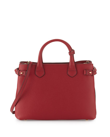 Banner Medium House Check & Derby Leather Tote Bag, Russet Red