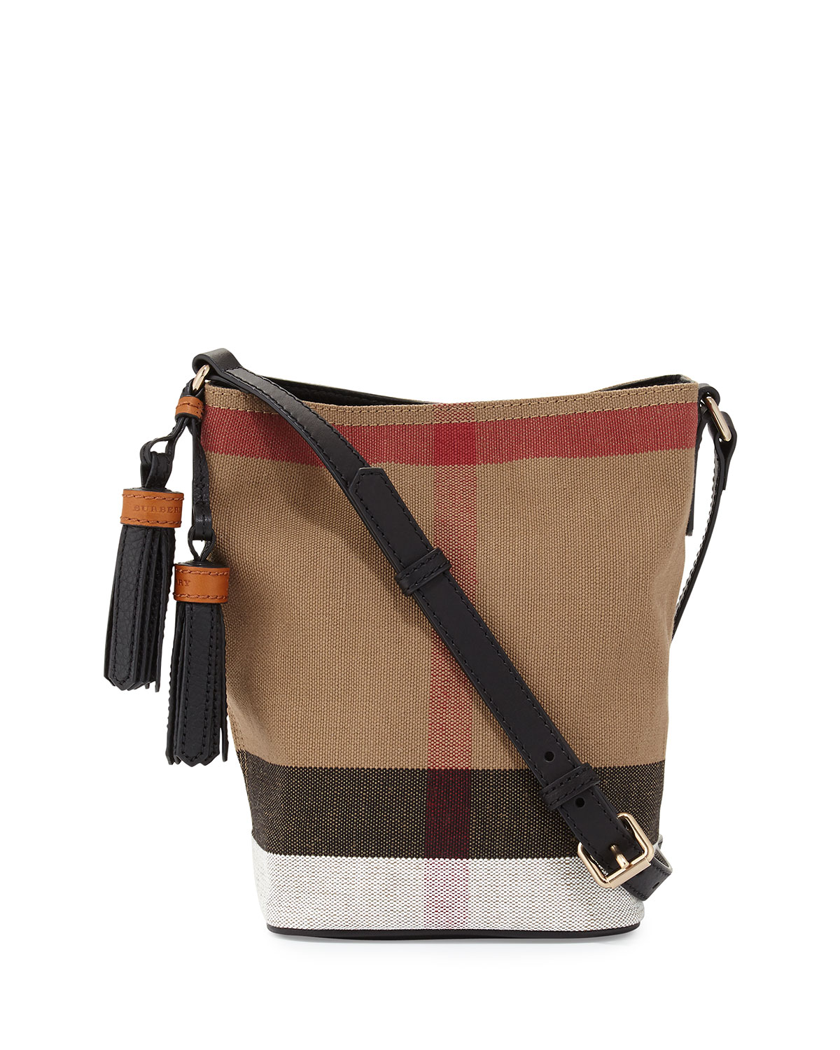 e40e97aab387 Burberry Mini Asby Check Canvas Bucket Bag
