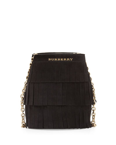 Fringed Suede Baby Bucket Bag, Black
