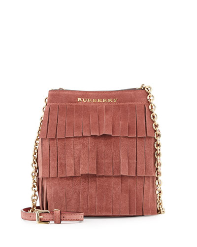 Baby Bucket Fringed Suede Bag, Russet Pink