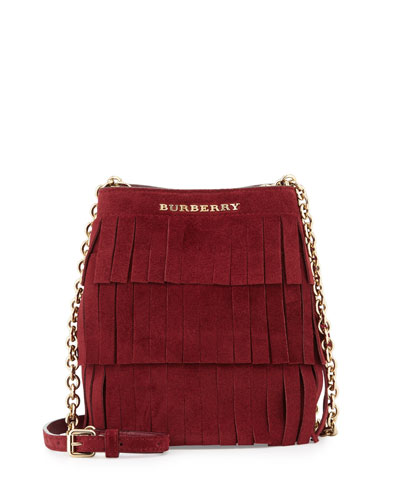 Baby Bucket Fringed Suede Bag, Cherry