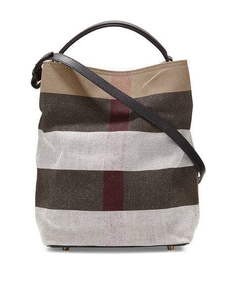 Burberry Asby Medium Mega-Check Bucket Bag, Black