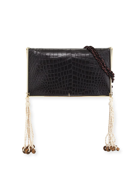 Elizabeth and James Wire Frame Crocodile-Embossed Boho Bag,