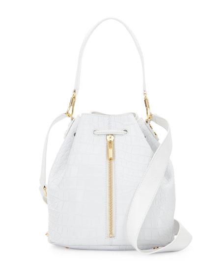 Elizabeth and JamesCynnie Crocodile-Embossed Bucket Bag, White