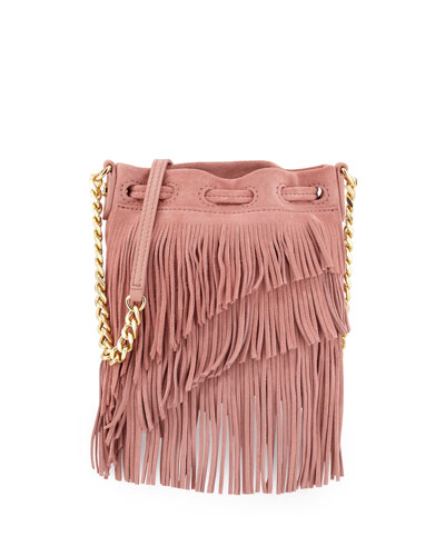 Suede Fringe Pouch Crossbody Bag, Rose