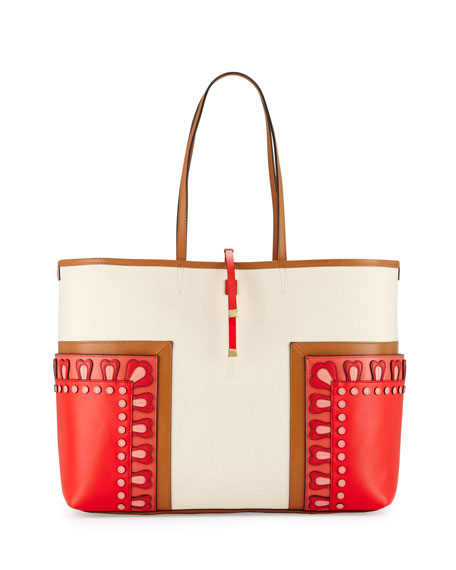 Tory Burch Block-T Applique Large Tote Bag, Natural