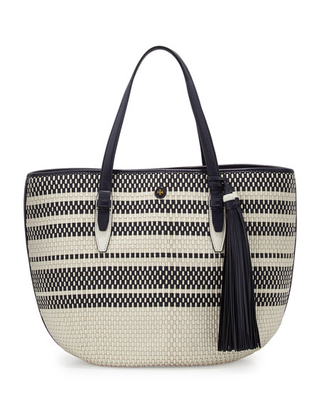 Woven Vachetta Leather Tote Bag, Tory Navy/Multi