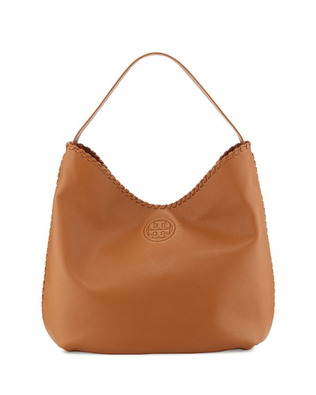Tory Burch Marion Leather Hobo Bag, Bark
