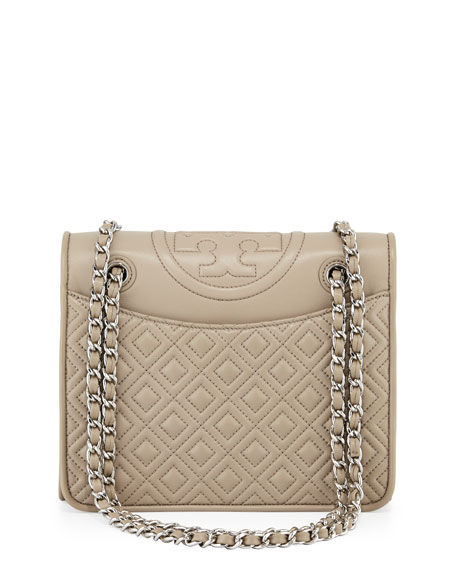 Fleming Quilted Medium Flap Shoulder Bag French Gray