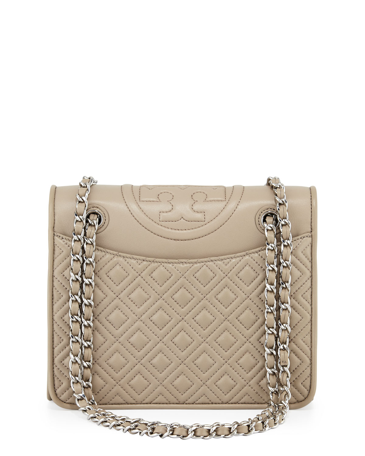f0cb33fcf7a Tory Burch Fleming Quilted Medium Flap Shoulder Bag, French Gray ...