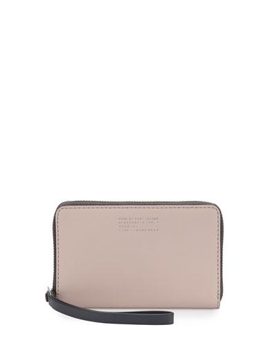 Quintessential Colorblocked Wingman Zip Wallet, Pearl Blush