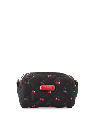 Crosby Quilted Nylon Large Cosmetics Case, Cherry Print