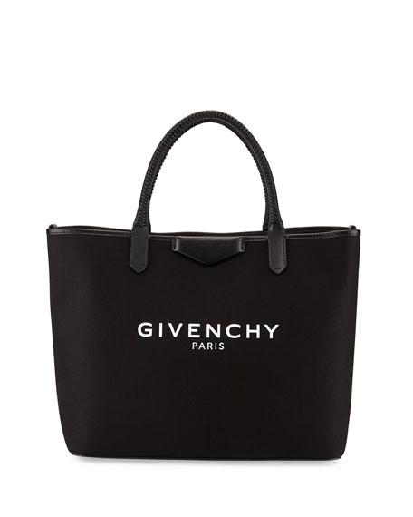 Givenchy Antigona Medium Logo Fabric Shopper Bag, Black