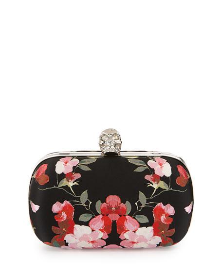 Alexander McQueen Classic Skull Floral Satin Clutch Bag w/Chain