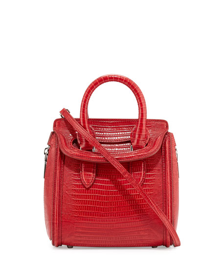 Alexander McQueen Heroine Stamped-Lizard Mini Satchel Bag, Red