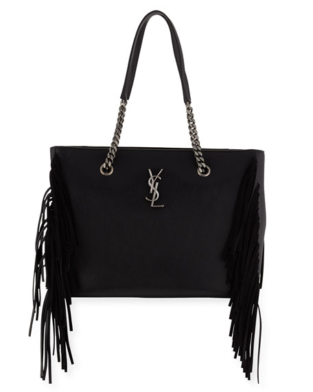 Saint Laurent Monogram Fringe Leather Shopping Tote Bag, Black