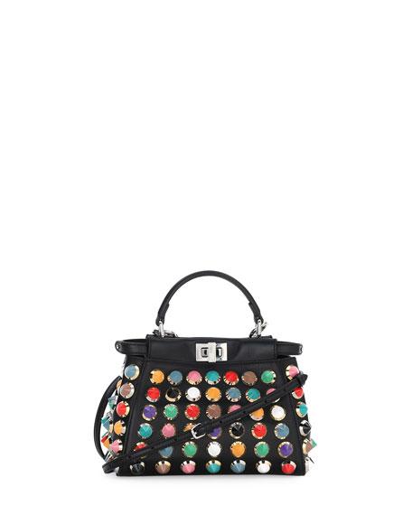 Fendi Peekaboo Mini Studded Satchel Bag, Black Multi