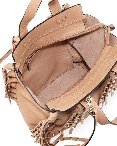 C-Rockee Studded Fringe Micro Shopper Tote Bag, Taupe
