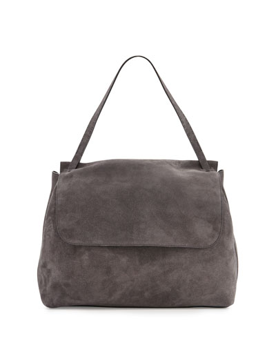 Top-Handle 14 Suede Satchel Bag, Pewter