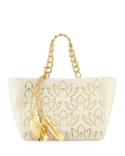 Lotus Leaf Crocodile Tote Bag, Cream/Gold