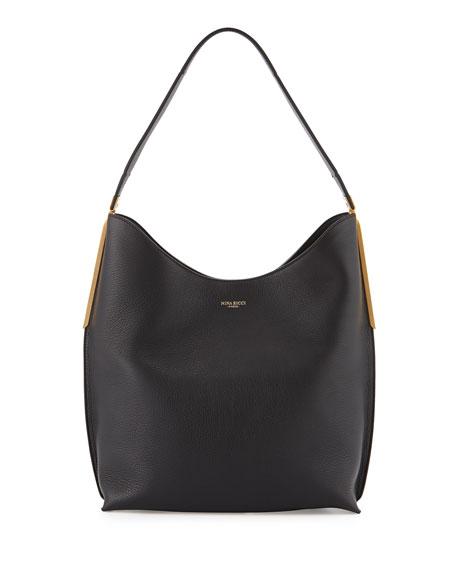 Nina Ricci Alphee Medium Leather Hobo Bag, Black