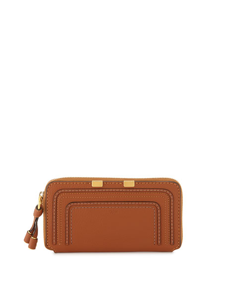 Chloe Marcie Stitched Leather Zip Wallet, Tan