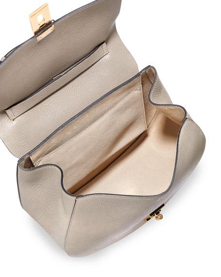 Drew Medium Grain Leather Shoulder Bag, Gray