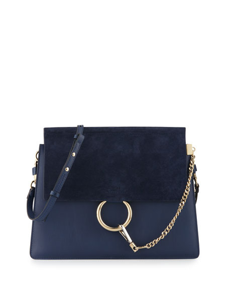 Faye Medium Flap Suede/Leather Shoulder Bag, Navy