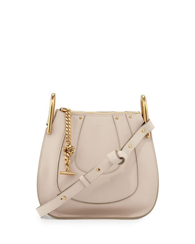 Hayley Mini Grain Leather Hobo Bag, Off White