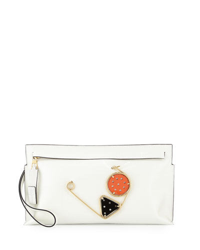 Leather Zip Pin Wristlet, White