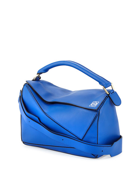 Calfskin Puzzle Bag, Electric Blue