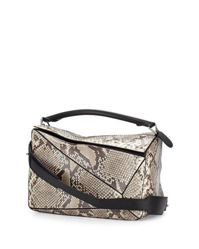 Puzzle Large Python Satchel Bag, Natural