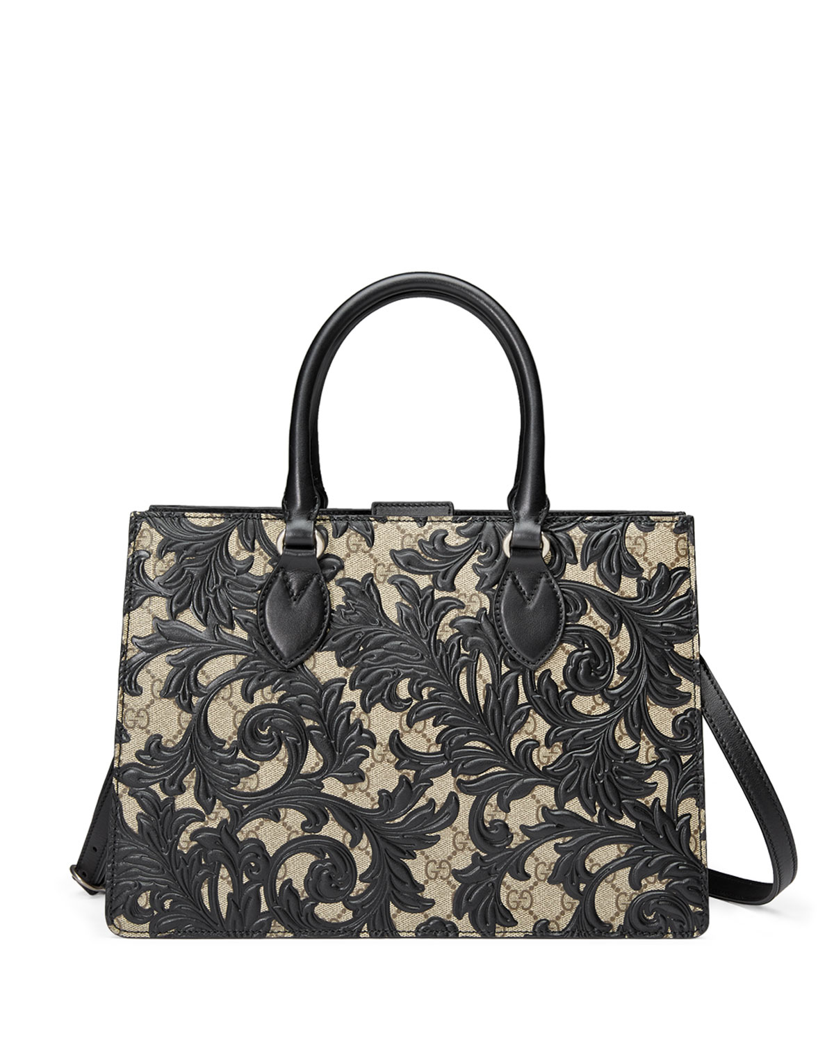 c661e9969b07 Gucci Arabesque Canvas Top Handle Bag, Black | Neiman Marcus