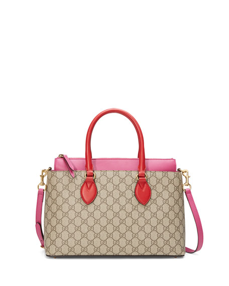 Gucci GG Supreme Small Tote Bag, Red/Pink