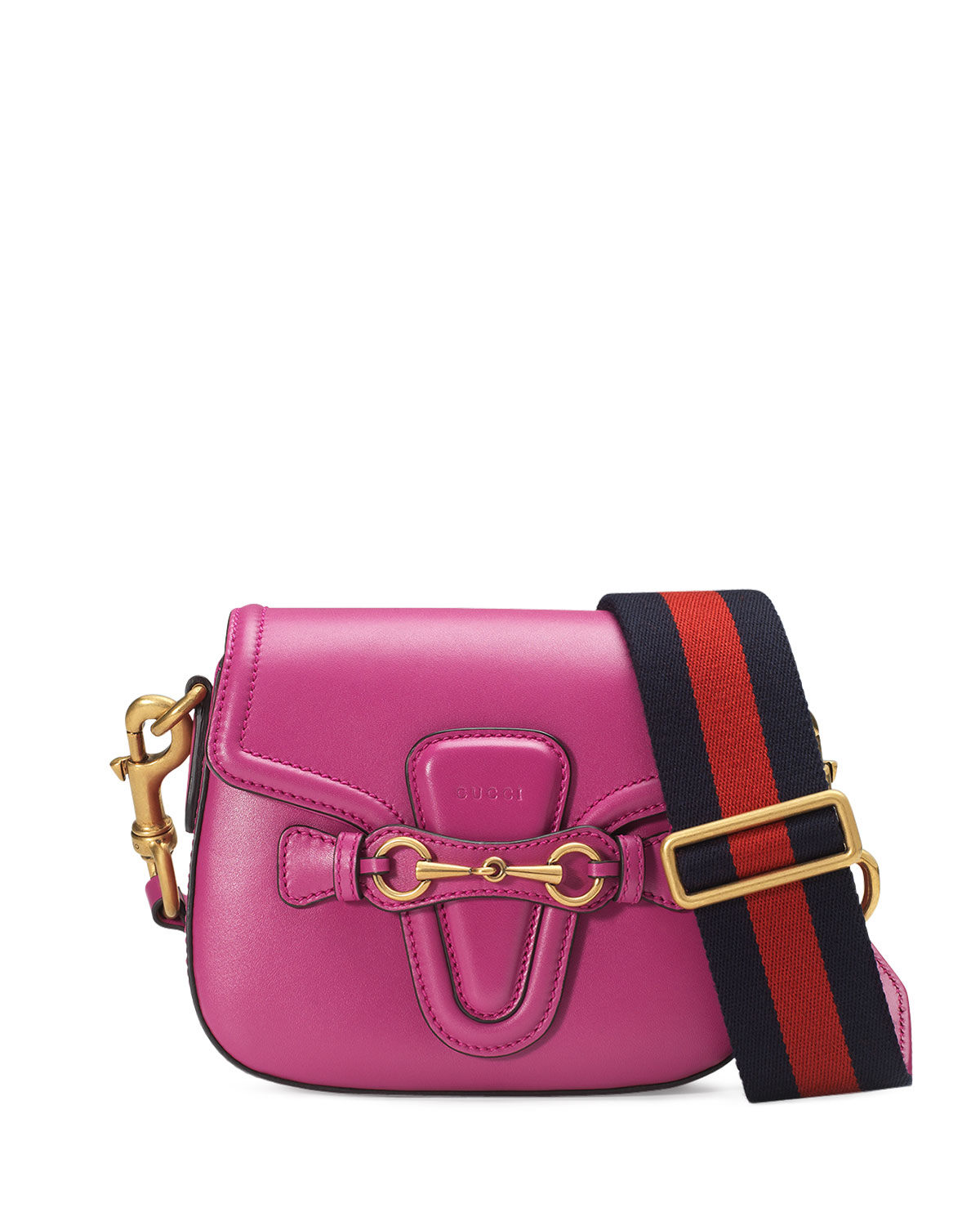 5923eaedb111 Gucci Lady Web Small Leather Crossbody Bag, Pink | Neiman Marcus