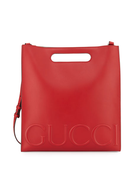 Linea Gucci XL Leather Tote Bag, Red
