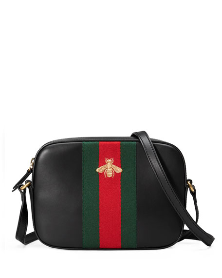 Gucci Leather Shoulder Bag, Black/Red/Green