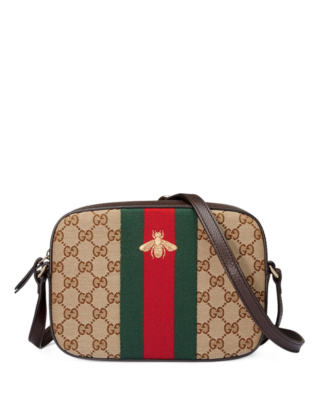09aefc1dea5 Gucci Original GG Canvas Shoulder Bag, Brown/Red/Green | Neiman Marcus