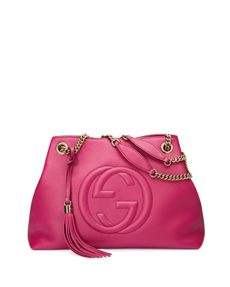 Gucci Soho Medium Leather Tote Bag, Bright Pink