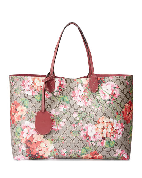 GG Blooms Large Reversible Leather Tote Bag, Multicolor