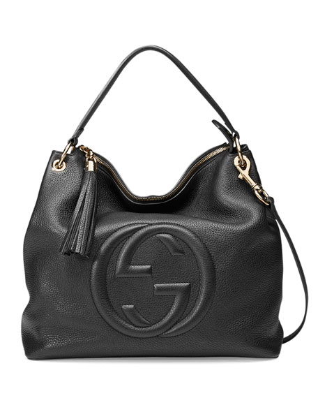 Gucci Soho Large Leather Hobo Bag, Black | Neiman Marcus
