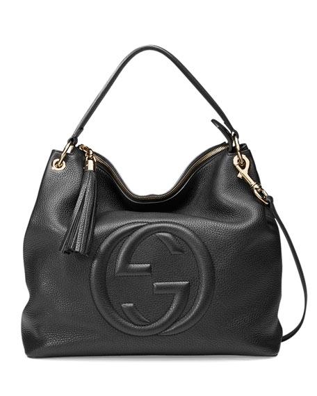 Gucci Soho Large Leather Hobo Bag, Black